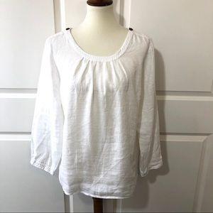 EUC JCREW White Linen Top